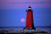 Manistique Lighthouse and moon lighthouses in the Upper Peninsula of Michigan