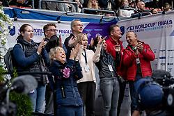 DE BOER Ann Christin (Pferdepfleger), LEATHERDALE Louise (Pferdebesitzer), MEYER Susanne (Pferdebesitzer), KOENLE Marc (Mannschaftstierarzt), THEODORESCU Monica (Bundestrainer Dressur GER), HILBERATH Jonny (Co Bundestrainer Dressur GER)<br /> Göteborg - Gothenburg Horse Show 2019 <br /> FEI Dressage World Cup™ Final II<br /> Grand Prix Freestyle/Kür<br /> Longines FEI Jumping World Cup™ Final and FEI Dressage World Cup™ Final<br /> 06. April 2019<br /> © www.sportfotos-lafrentz.de/Stefan Lafrentz