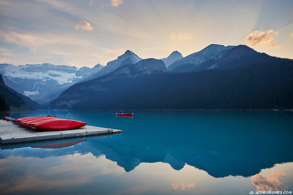 Canoeing on Lake Louise in Banff National Park, Alberta, Canada.