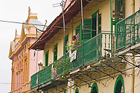 Woman on a balcony, Casco Viejo (the Old City), San Felipe district, Panama City, Panama