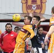 Dundee&rsquo;s Cammy Kerr shadows Motherwell&rsquo;s Elliott Frear - Motherwell v Dundee in the Ladbrokes Scottish Premiership at Fir Park, Motherwell.Photo: David Young<br /> <br />  - &copy; David Young - www.davidyoungphoto.co.uk - email: davidyoungphoto@gmail.com