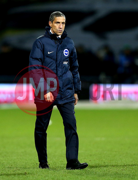 Brighton & Hove Albion Manager Chris Hughton looks solum in defeat to Huddersfield Town - Mandatory by-line: Robbie Stephenson/JMP - 02/02/2017 - FOOTBALL - John Smith's Stadium - Huddersfield, England - Huddersfield Town v Brighton and Hove Albion - Sky Bet Championship