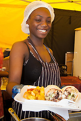 Battersea Park, London, August 15th 2014. A huge variety of different food, drink and condiments are on offer at the Foodies Festival Feast at Battersea Park which runs from August the 15th to Sunday 17th August.