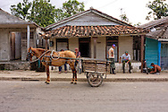 Horse and cart in Bahia Honda, Artemisa, Cuba.