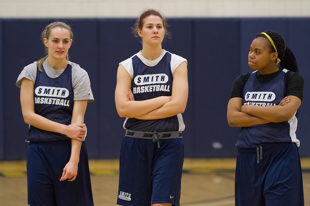 (L to R) Smith College Pioneers' Amanda Zakoske, Rosa Drummond, and Sydney Parkmond are pictured during team practice on Wednesday, February 27, 2013. The Pioneers are in the NCAA tournament for the first time and will play Southern Maine Huskies on Friday.  (Matthew Cavanaugh for The Boston Globe)The Smith College women's basketball team practices on the Senda Berenson Court at Smith College on Wednesday, February 27, 2013.  (Photo by Matthew Cavanaugh)