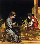 Blind basket maker and his daughter. Basket making was one of the traditional crafts for people without sight. Chromolithograph from a children's book published London, 1867.