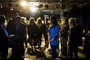 Frankfurt | 16 April 2017<br /> <br /> Aktivisten der Hayir-Initiative trafen sich am Abend des Verfassungsreferendums in der T&uuml;rkei im G&uuml;nes-Theater in Frankfurt am Main, um gemeinsam die Berichterstattung der Medien zum Referendum zu beobachten und das Ergebnis abzuwarten.<br /> Hier: Die hessische Landtagsabgeordnete M&uuml;rvet &Ouml;zt&uuml;rk (weisse Jacke, mit Mikrofon) moderiert die Veranstaltung.<br /> <br /> photo &copy; peter-juelich.com<br /> <br /> Abdruck honorarpflichtig!<br /> No Model Release!<br /> No Property Release!