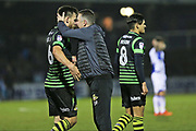 Doncaster Rovers Manager  Darren Ferguson hugs  Doncaster Rovers Andy Bulter (6) after their 1-0 win during the EFL Sky Bet League 1 match between Bristol Rovers and Doncaster Rovers at the Memorial Stadium, Bristol, England on 23 December 2017. Photo by Gary Learmonth.