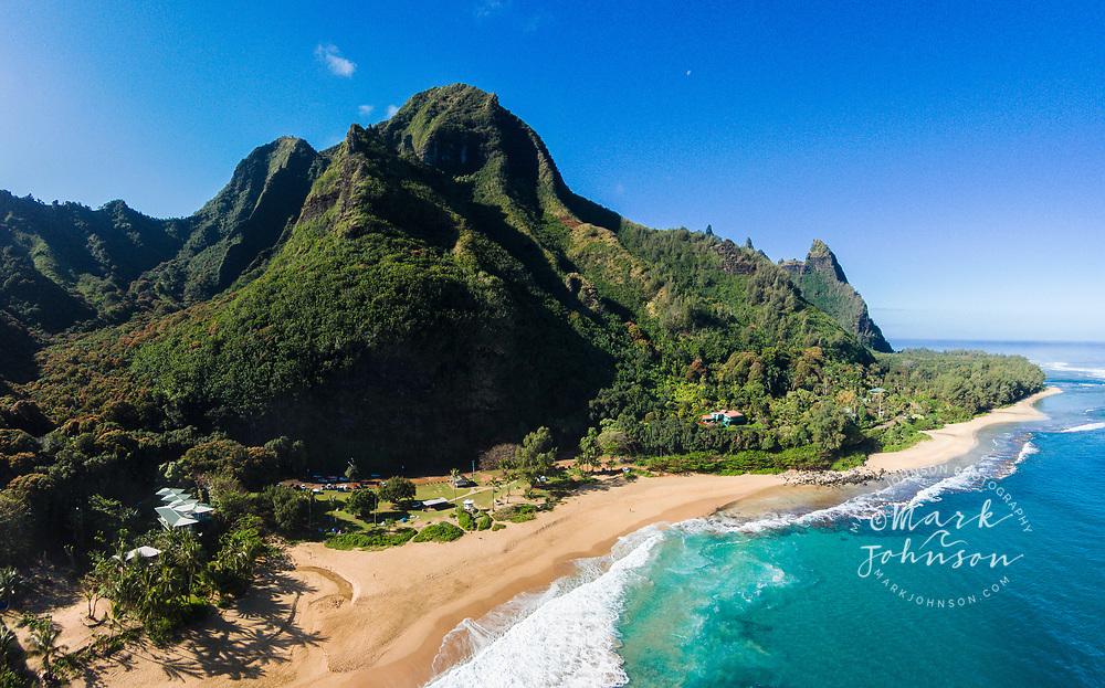 Aerial photo of Haena (Tunnels) Beach, Kauai, Hawaii