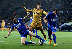 Dele Alli of Tottenham Hotspur is tackled by Ben Chilwell of Leicester City and Christian Fuchs of Leicester City - Mandatory by-line: Robbie Stephenson/JMP - 18/05/2017 - FOOTBALL - King Power Stadium - Leicester, England - Leicester City v Tottenham Hotspur - Premier League