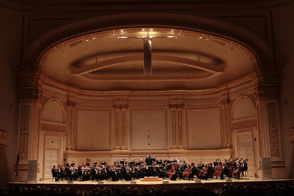 Audience members arrive to  see the Toledo Symphony with Stefan Sanderling, Principal Conductor, performing Symphony No.6 in B minor, Op. 54 by Dmitri Shostakovich during the first half of the Spring for Music festival at Carnegie Hall in Manhattan, New York on May 07, 2011. .