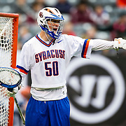 April 01,  2012:  Syracuse goalie Dominic Lamolinara (50) screams at his team during the Big City Classic at  Met Life Stadium in East Rutherford, New Jersey . Duke defeated Syracuse 12-10. (Credit Image: © Kostas Lymperopoulos/Cal Sport Media)
