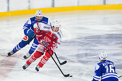 03.01.2015, Klagenfurter Wörthersee Stadion, Klagenfurt, AUT, EBEL, EC KAC vs EC VSV, 35. Runde, in picture Thomas Hundertpfund (EC KAC, #27) and Benjamin Petrik (EC VSV, #21) during the Erste Bank Icehockey League 35. Round between EC KAC and EC VSV at the Klagenfurter Wörthersee Stadion, Klagenfurt, Austria on 2015/01/03. Photo by Matic Klansek Velej / Sportida