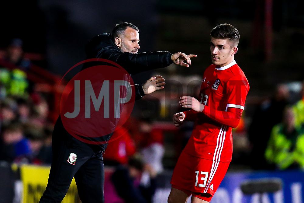 Wales head coach Ryan Giggs talks to Declan John of Wales- Mandatory by-line: Robbie Stephenson/JMP - 20/03/2019 - FOOTBALL - The Racecourse Ground - Wrexham, United Kingdom - Wales v Trinidad and Tobago - International Challenge Match