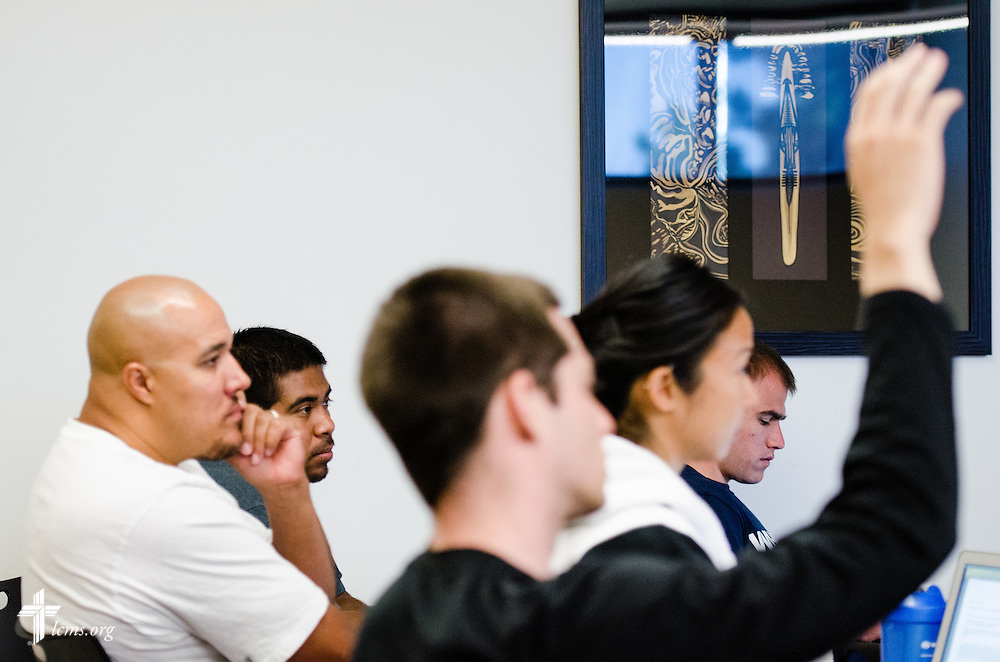 Students, including Walt Dansby, III, (far left) listen during a class at Concordia University Irvine on Wednesday, July 9, 2014, in Irvine, Calif. Dansby is seated next to Juan Rodriguez. LCMS Communications/Erik M. Lunsford