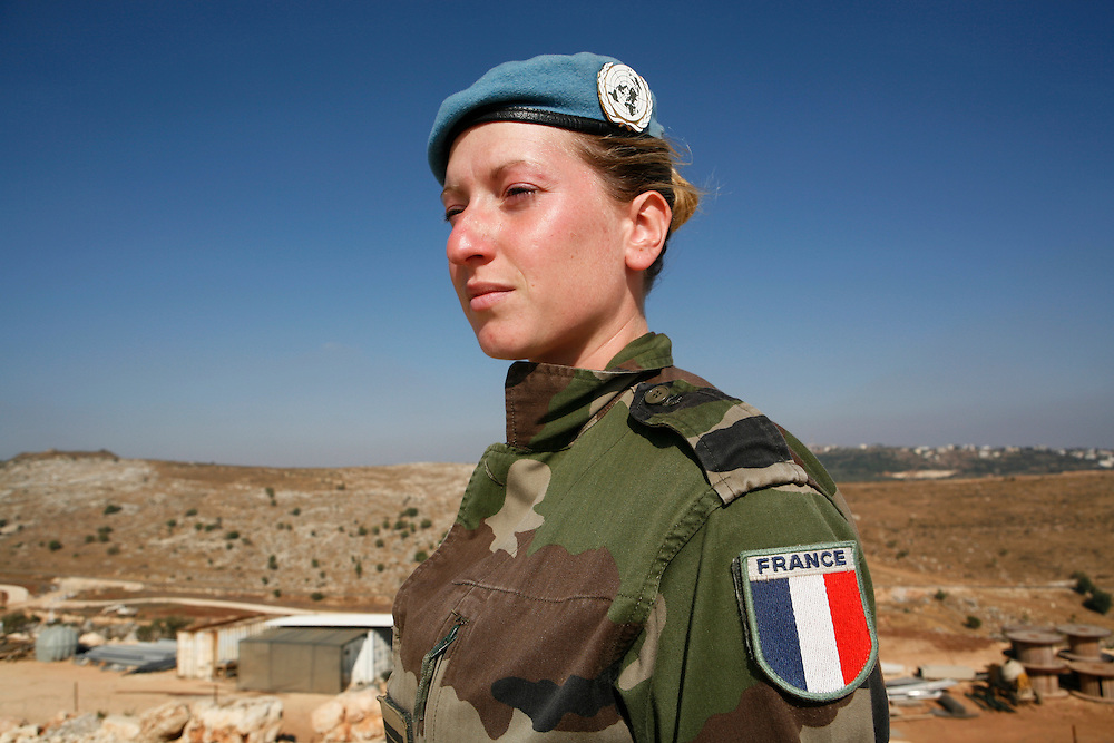 """Originally created in 1978, The United Nations Interim Force in Lebanon (UNIFIL) was created to ensure oversee an Israeli withdrawal from Lebanon, who at that time began its occupation of southern Lebanon that lasted until 2000. After the Israeli war on Lebanon in 2006, UNIFIL enhanced its presence in southern Lebanon to monitor the cessation of hostilities. ..Pictured: Lieutenant Stephanie Lugrin, Press Officer at the UNIFIL French Camp """"2.45"""" in al-Tiri in southern Lebanon."""