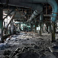 Interior view of a derelict factory