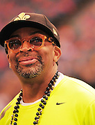 New Orleans Saints head coash Sean Payton shares a laugh with Filmamaker Spike Lee on th sideline, just prior to the kick off to the popening of the NFL season. The Saints beat the Minnessota Viking 14-9- in New Orleans at the Super dome Thursday Sept. 9 2010. Phot © Suzi Altman