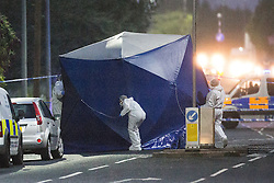 "© Licensed to London News Pictures. 26/07/2015. Salford, UK. Scene on Manchester Road , Clifton , Salford where Paul Massey - known as Salford's ""Mr Big"" has been shot dead this evening (26th July 2015 . Photo credit: Joel Goodman/LNP"