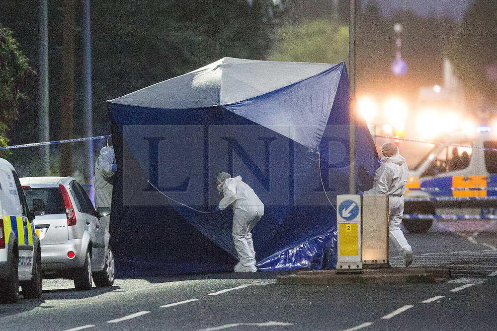 """© Licensed to London News Pictures. 26/07/2015. Salford, UK. Scene on Manchester Road , Clifton , Salford where Paul Massey - known as Salford's """"Mr Big"""" has been shot dead this evening (26th July 2015 . Photo credit: Joel Goodman/LNP"""
