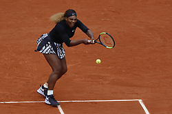 May 30, 2019 - Paris, France - Serena Williams of the USA in action against Kurumi Nara (not seen) of Japan during their second round match at the French Open tennis tournament at Roland Garros Stadium in Paris, France on May 30, 2019. (Credit Image: © Mehdi Taamallah/NurPhoto via ZUMA Press)