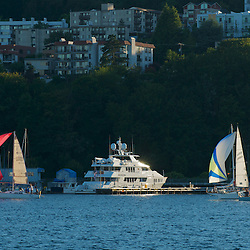 The large private yacht M/Y Aghassi docked on Lake Union in Seattle, Washington.