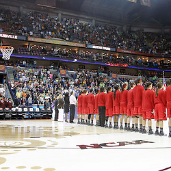 April 7, 2013; New Orleans, LA, USA; Louisville Cardinals players stand for the national anthem before the semifinals during the 2013 NCAA womens Final Four against the California Golden Bears at the New Orleans Arena. Mandatory Credit: Derick E. Hingle-USA TODAY Sports