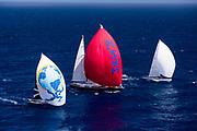 Danneskjold, Zenji, and L'Ondine sailing in the St. Barth's Bucket regatta, day three.