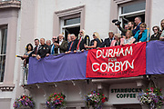JEREMY CORBIN, EMILY THORNBERRY, ON RIGHT IN TURQOISE, ROYAL COUNTY HOTEL, , The Durham Miners Gala, Durham. 13 July 2019