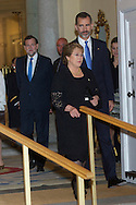 Michelle Bachelet and King Felipe VI of Spain attended a reception in honour of Chilean President at the El Pardo Palace on October 30, 2014 in Madrid, Spain