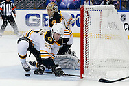 Boston Bruins' Dougie Hamilton makes a save on a wrap-around attempt by Tampa Bay Lightning's Tom Pyatt (not pictured) beside goalie Tuukka Rask, of Finland during the second period of an NHL hockey game Thursday, Feb. 21, 2013, in Tampa, Fla. (AP Photo/Mike Carlson)
