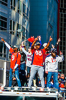 Denver Broncos receivers Emmanuel Sanders (l) and Demaryius Thomas (88) at the Super Bowl 50 victory parade in Downtown Denver, Colorado USA.