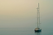 Sail boat in the waters of the Mediterranean Sea in Italy