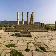 Capitoline Temple at archaeological Site of Volubilis, ancient Roman empire city, Unesco World Heritage Site, located in Morocco near Meknes