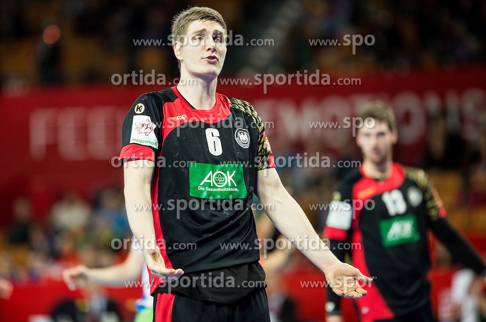 Finn Lemke of Germany during handball match between National teams of Germany and Slovenia on Day 6 in Preliminary Round of Men's EHF EURO 2016, on January 20, 2016 in Centennial Hall, Wroclaw, Poland. Photo by Vid Ponikvar / Sportida