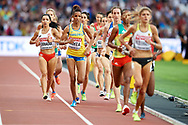Great Britain, London - 2017 August 04: (L) Sofia Ennaoui (MKL Szczecin) of Poland competes in women's 1500m qualification during IAAF World Championships London 2017 at  London Stadium on August 04, 2017 in London, Great Britain.<br /> <br /> Mandatory credit:<br /> Photo by © Adam Nurkiewicz<br /> <br /> Adam Nurkiewicz declares that he has no rights to the image of people at the photographs of his authorship.<br /> <br /> Picture also available in RAW (NEF) or TIFF format on special request.<br /> <br /> Any editorial, commercial or promotional use requires written permission from the author of image.