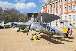 Horseguards Parade, Westminster, March 31st 2016. The Royal Air Force Museum displays three aircraft on Westminster's Horseguard's Parade to promote the forthcoming 100th anniversary of the establishment of the Royal Air Force. The aircraft are a 1918 Sopwith Snipe, a Second World War Spitfire Mk XVI and a modern Eurofighter Typhoon. <br /> ©Paul Davey<br /> FOR LICENCING CONTACT: Paul Davey +44 (0) 7966 016 296 paul@pauldaveycreative.co.uk