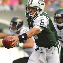 Nov 15, 2009; East Rutherford, NJ, USA; New York Jets quarterback Mark Sanchez (6) hands the ball off during first half NFL action between the New York Jets and Jacksonville Jaguars at Giants Stadium.