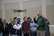 Kevin Gragg Video Producer Director for the long running TV Show Oklahoma Gardening, is showing students at the Central Technology Center in Drumright his new aerial camera platform. The students are learning about drones and their use in video and still photography.
