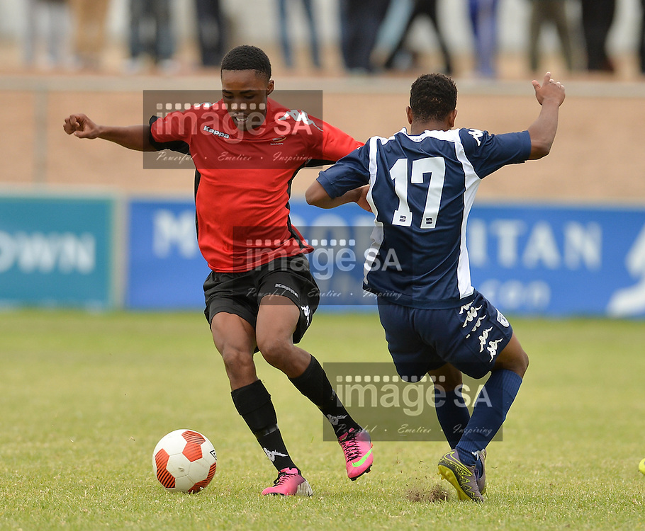 CAPE TOWN, SOUTH AFRICA - Saturday 26 March 2016,  Vuyo Mantjie of Harmony Sports Academy is challenged by Sifundo Sibiya of Bidvest Wits during the match between Bidvest Wits and Harmony during the fourth day of the Metropolitan U19 Premier Cup at Erica Park in Belhar. <br /> Photo by Roger Sedres/ImageSA