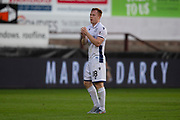 2nd Aug 2019, East End Park, Dunfermline, Fife, Scotland, Scottish Championship football, Dunfermline Athletic versus Dundee;  Danny Johnson of Dundee applauds the fans at the end of the match
