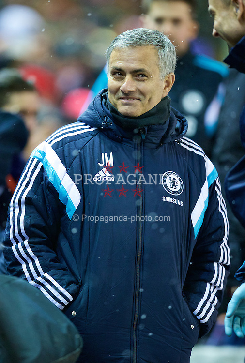 LIVERPOOL, ENGLAND - Tuesday, January 20, 2015: Chelsea's manager Jose Mourinho before the Football League Cup Semi-Final 1st Leg match against Liverpool at Anfield. (Pic by David Rawcliffe/Propaganda)