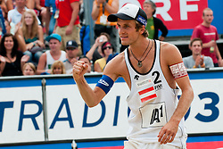 Alexander Huber of Austria at A1 Beach Volleyball Grand Slam tournament of Swatch FIVB World Tour 2011, on August 5, 2011 in Klagenfurt, Austria. (Photo by Matic Klansek Velej / Sportida)