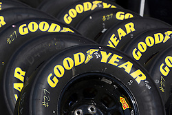 June 25, 2011; Sonoma, CA, USA;  Goodyear racing tires are stacked outside of the garage before practice for the Toyota/Save Mart 350 at Infineon Raceway.