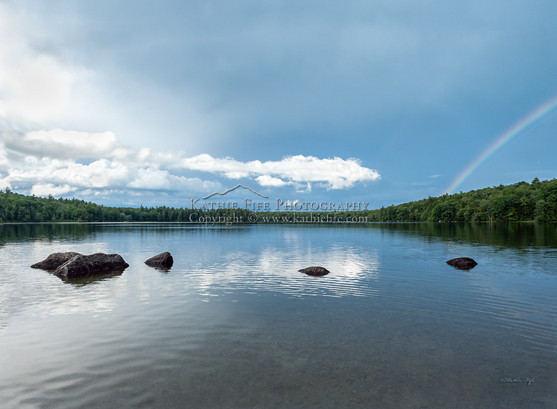 A rainbow over Willard Pond, a NH Audubon Sanctuary in Antrim, New Hampshire.