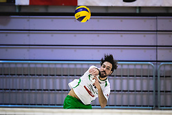 Plesec Vasja of Panvita Pomgrad serving during volleyball match between Panvita Pomgrad and Šoštanj Topolšica of 1. DOL Slovenian National Championship 2019/20, on December 14, 2019 in Osnovna šola I, Murska Sobota, Slovenia. Photo by Blaž Weindorfer / Sportida