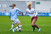 West Ham United Women forward Alisha Lehmann (7) and Manchester City Women forward Janine Beckie (11) in action during the FA Women's Super League match between Manchester City Women and West Ham United Women at the Sport City Academy Stadium, Manchester, United Kingdom on 17 November 2019.
