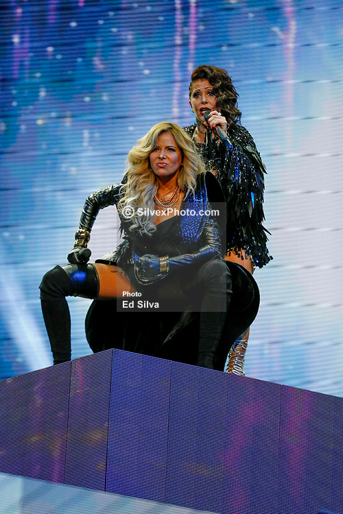 LOS ANGELES, CA - JUNE 3 Legendary mexican pop divas Gloria Trevi and Alejandra Guzmán perform live on stage, during the 'Versus' tour, at the Staples Center in downtown Los Angeles, on Saturday night June 3, 2017 in Los Angeles, California. Byline, credit, TV usage, web usage or linkback must read SILVEXPHOTO.COM. Failure to byline correctly will incur double the agreed fee. Tel: +1 714 504 6870.