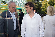 HANS ULRICH OBRIST; THOMAS HEATHERWICK, Serpentine's Summer party co-hosted with Christopher Kane. 15th Serpentine Pavilion designed by Spanish architects Selgascano. Kensington Gardens. London. 2 July 2015.