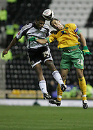 Derby - Tuesday October 28th, 2008: Miles Addison of Derby County and Darel Russell of Norwich City in action during the Coca Cola Championship match at Pride Park, Derby. (Pic by Michael Sedgwick/Focus Images)